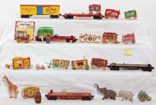 4: Plastic circus people, animals, various accessories