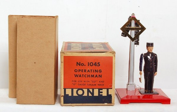 7: Lionel No. 1045 operating watchman in OB