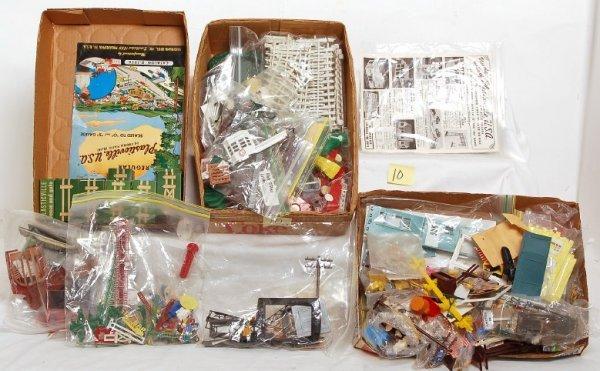 10: Plasticville parts, pieces, instructions, catalog