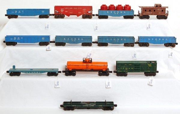 5015: Lionel gondolas, flatcars, hopper, caboose, more