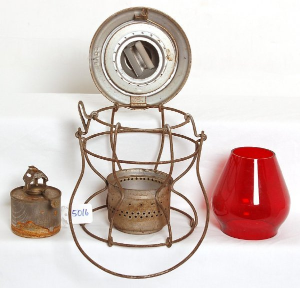 5016: New York Central System etched red globe lantern