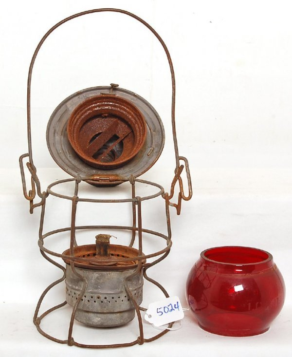 5024: Illinois Central Adlake lantern red etched globe
