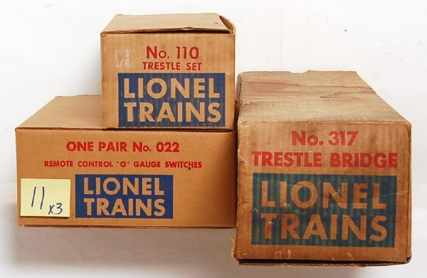 11: Lionel No. 022, 110 and 317 in original boxes