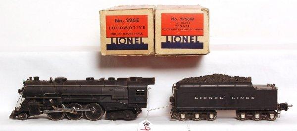 809: Lionel prewar 226E steam, 2226W tender, OB