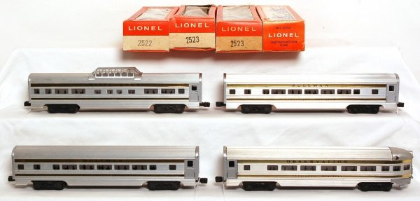 822: Unrun Lionel 2521, 2522, two 2523 Pres. cars OB