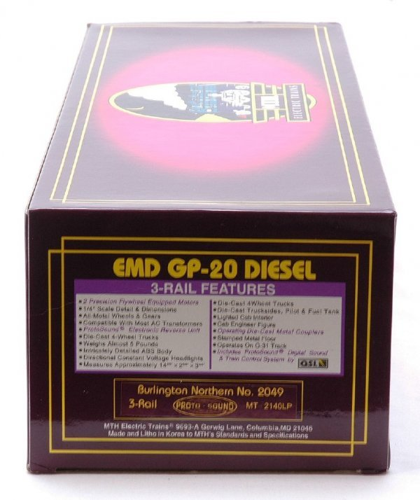 2613: MTH 2140LP BN EMD GP-20 Diesel Cab No. 2049 MIB