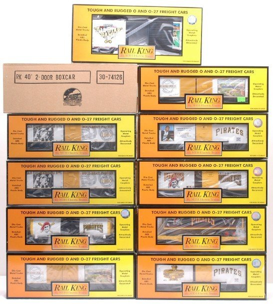 12: MTH Pittsburgh Pirates 10 Freight Cars MINT Boxed