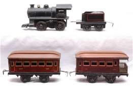 882: Bing Pennsy Set Clockwork Loco 528-24 Pass Cars
