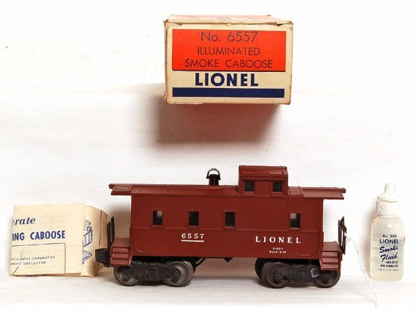 2801: Mint Lionel 6557 smoking caboose, OB