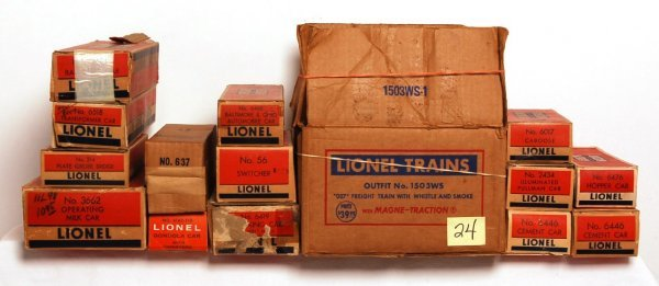 24: Large lot of Lionel postwar boxes, 1503WS, 56...