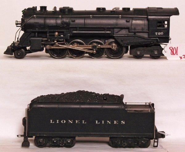 801: Lionel 726 Berkshire, 2426W tender, 1946 variation