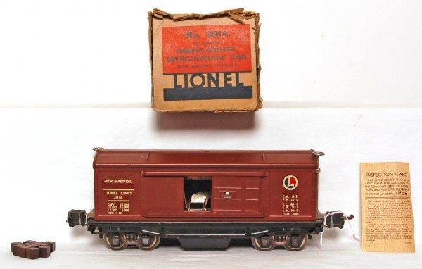 823: Lionel prewar 3814 merchandise car, decal var. OB