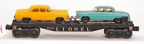 824: Lionel 6424 flat, original autos, 6805 flat variat