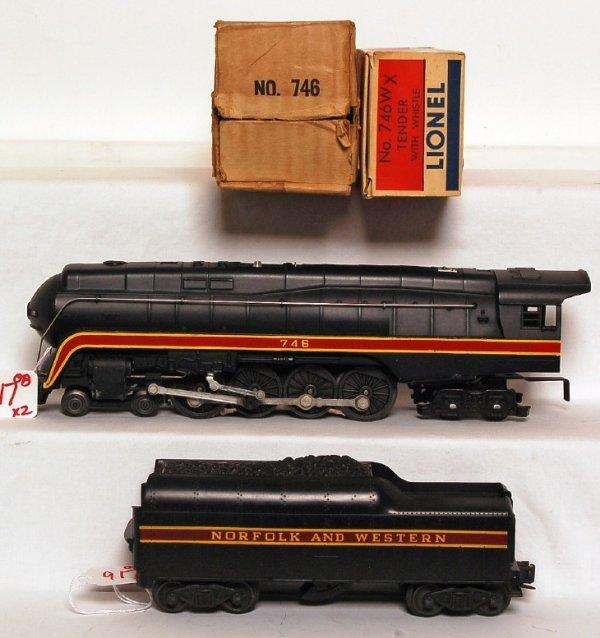 917: Lionel 746 N and W w/long stripe tender in OB