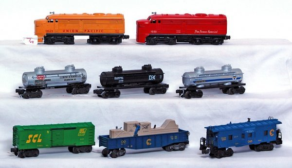 7: Lionel 1065, 1055, six redecorated freight cars