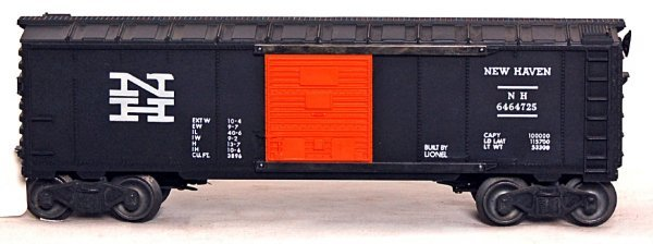 803: Unusual Lionel 6464-725 black NH boxcar, unrun