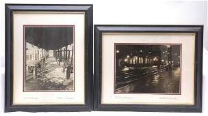 397: Two Photos Framed Train Station Baggage Wagons