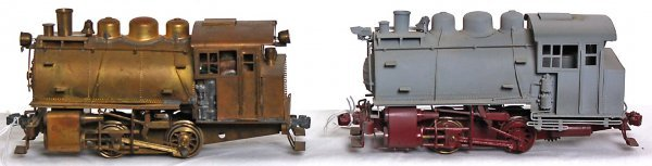 5: Two brass O scale 0-4-0 switchers