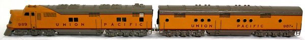 14: Brass O scale 2 rail U. P. diesel A-B units