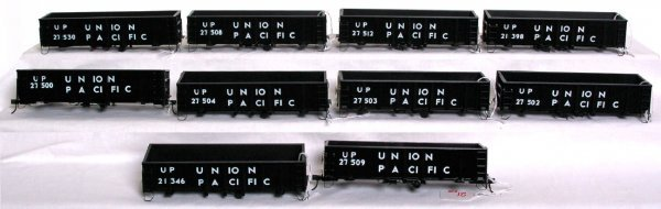 21: Ten brass O scale Union Pacific gondolas