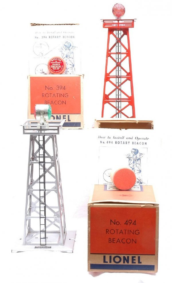 2013: Lionel 394 Red 494 Silver Rotary Beacons MINT OB