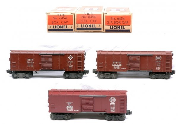 2018: Lionel three 6454 Boxcars SP Erie NYC LN Boxed