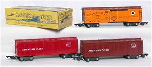 American Flyer 642 brown, 642 red, 647 NP reefers