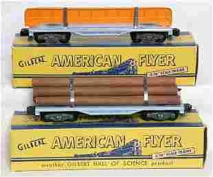 American Flyer 905 log, 909 girder flatcars