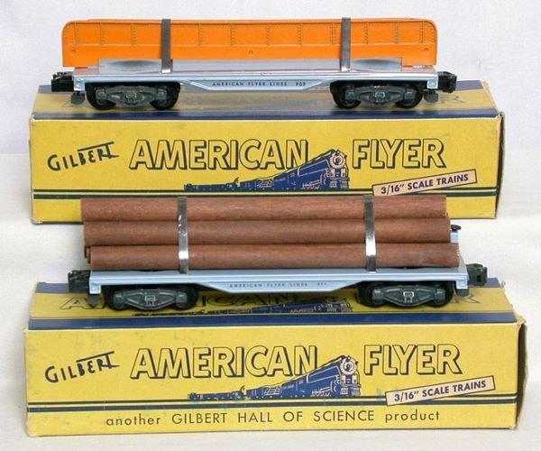 1008: American Flyer 905 log, 909 girder flatcars