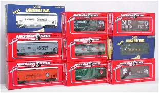 Nine American Flyer NASG freight cars
