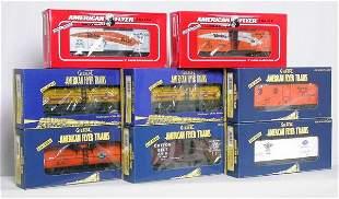 Eight American Flyer TTOS freight cars