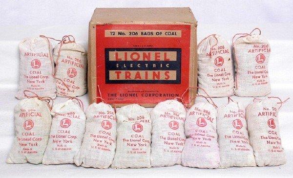 3113: Unusual Lionel master carton 12 bags 206 coal