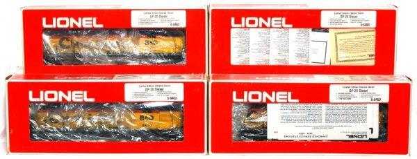 7: Four Lionel 8463 Chessie GP-20 diesels in OB