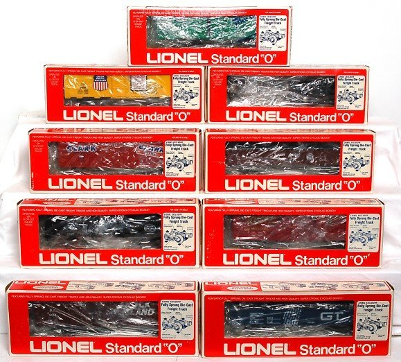 8: Nine Lionel standard O freight cars in OB