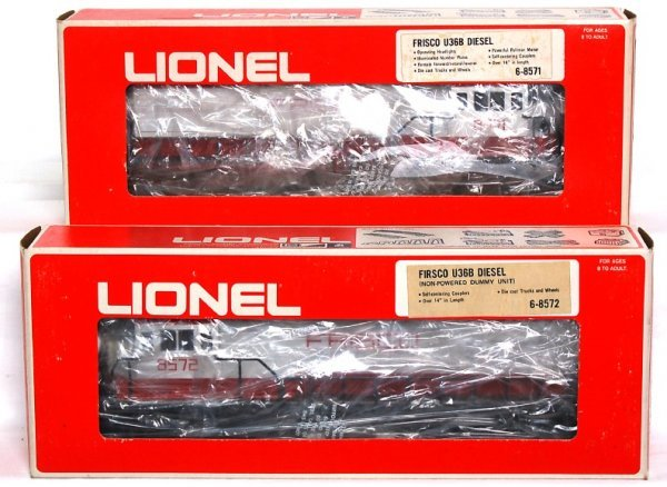 19: Lionel 8571 and 8572 Frisco U36B diesels in OB