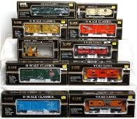 72: Nine K-Line freight cars, one hand car, in OB