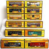 83 Twelve MTH Rail King freight cars in OB