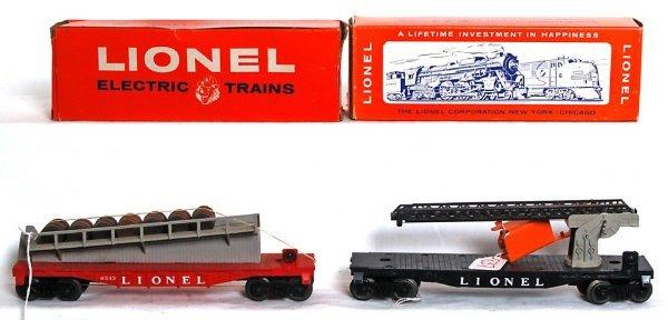 837: Lionel 6512 cherry picker, 6343 barrel ramp OB