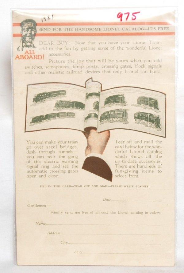 975: Neat Lionel prewar postcard, mint