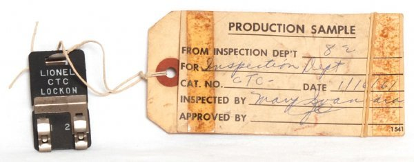 986: Lionel factory production sample CTC
