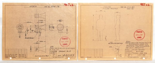 987: Two Lionel factory drawings, 334 dispatch
