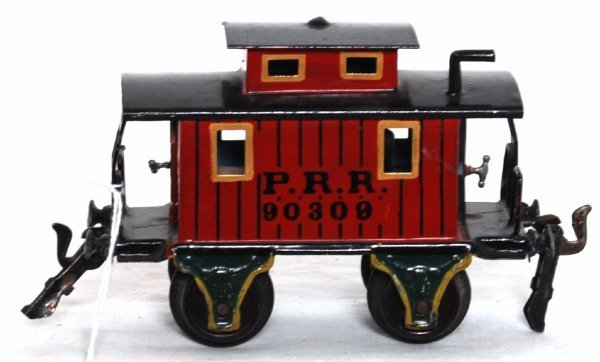1218: Marklin O gauge four wheel 90309 P.R.R. caboose