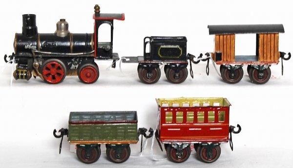 1220: Early Marklin O gauge mechanical train set