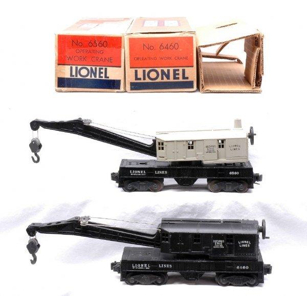 614: Lionel 6560 Gray Cab 6460 Black Cab Cranes OB