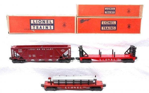 620: Lionel 6467 Misc. Car 6436-25 Hopper 6511 Pipe OB