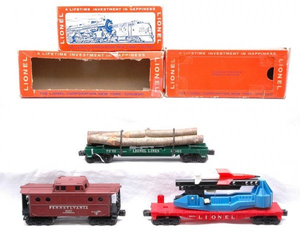 621: Lionel 6361 Log  6650 Missile  637 Caboose Boxed