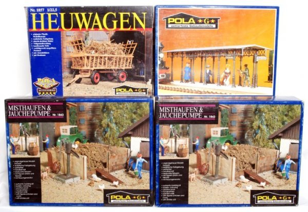 4: Four Pola G scale model kits in original boxes
