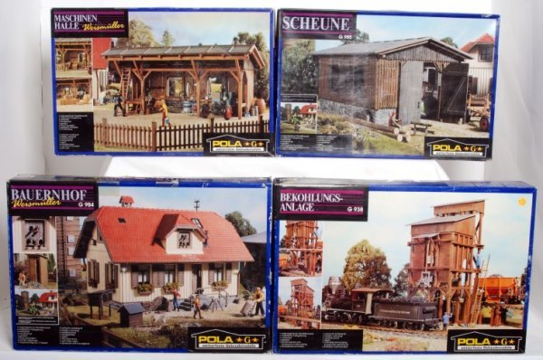 11: Four Pola G scale building kits in original boxes