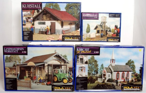 19: Four Pola G scale building kits in original boxes