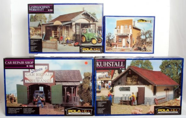 21: Four Pola G scale building kits in original boxes